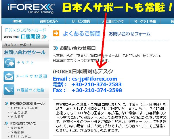 iForexには日本人のサポートが常駐しているので安心